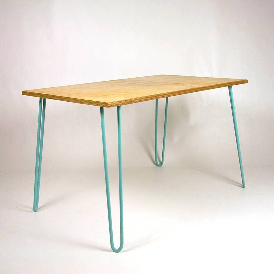 dining table, industrial, hairpin legs, plywood | hairpin legs