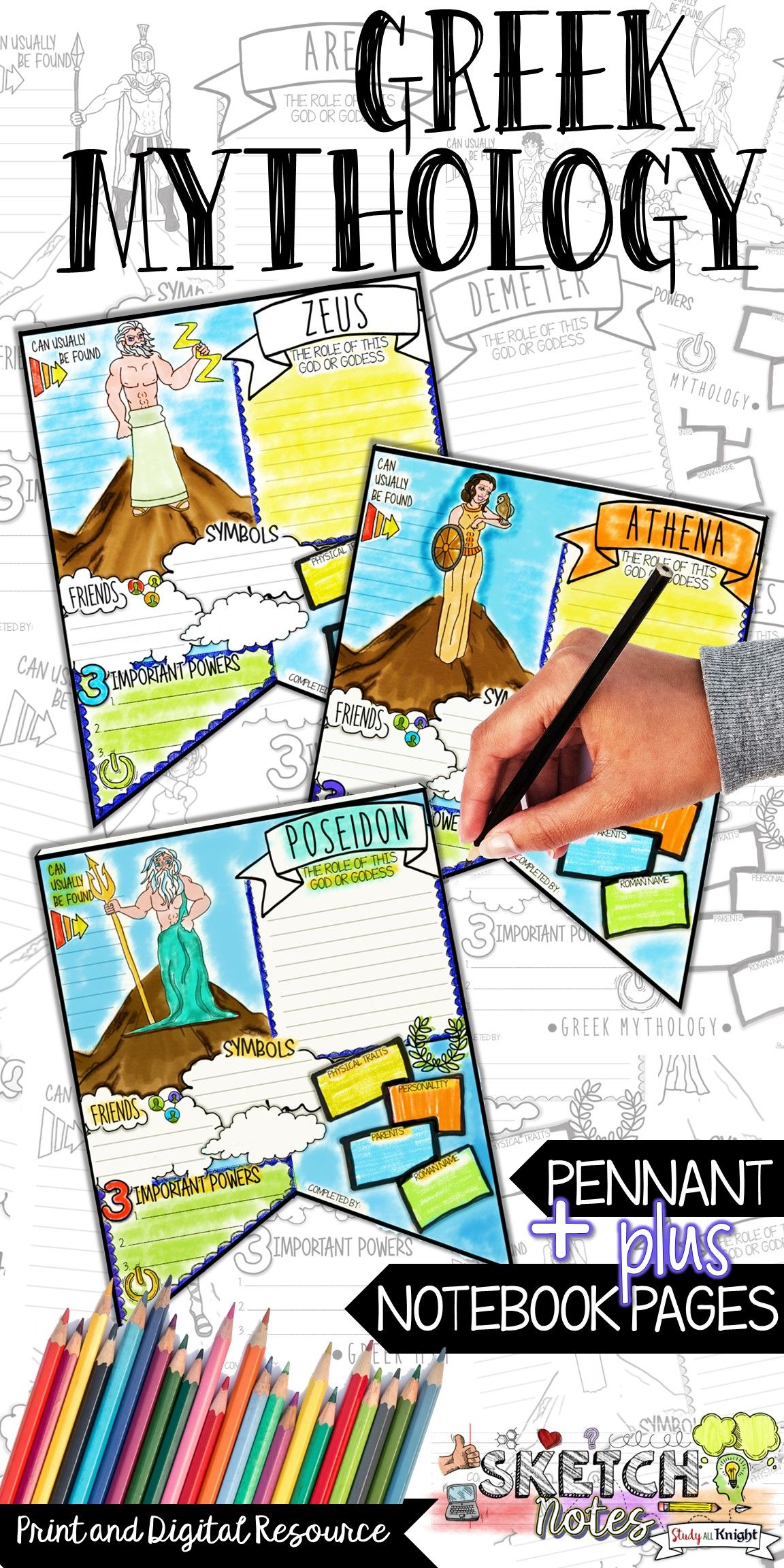 Greek Mythology Activities Research Pennant Sketchnotes