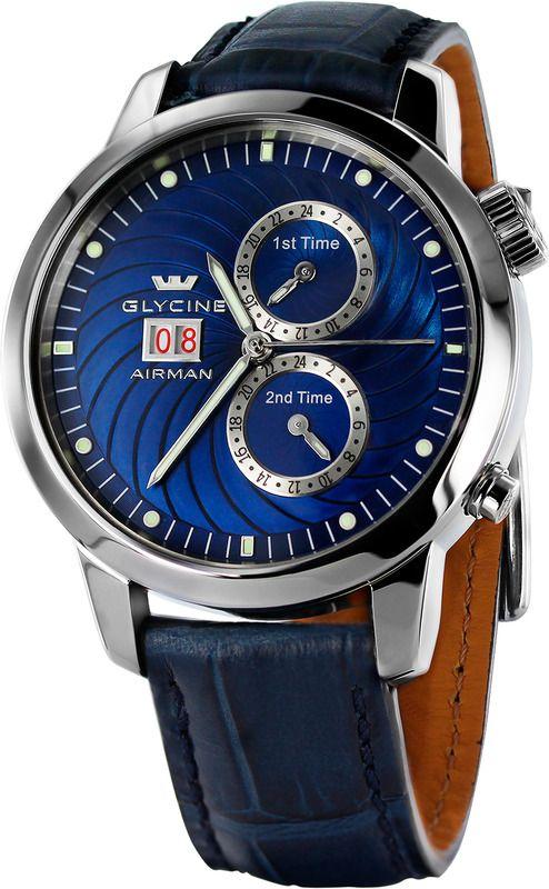 GLYCINE AIRMAN Seven Ref. 3919.18.LBK8 (blue) or Ref. 3919.19.LBK9 (black) multi timer automatic - Swiss made watches - SwissTime