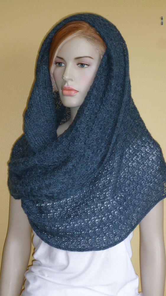 Alpaca Infinity Shawl Scarf Mobius Stole Capelet in Heather Blue  65 ... ddcfee24b1