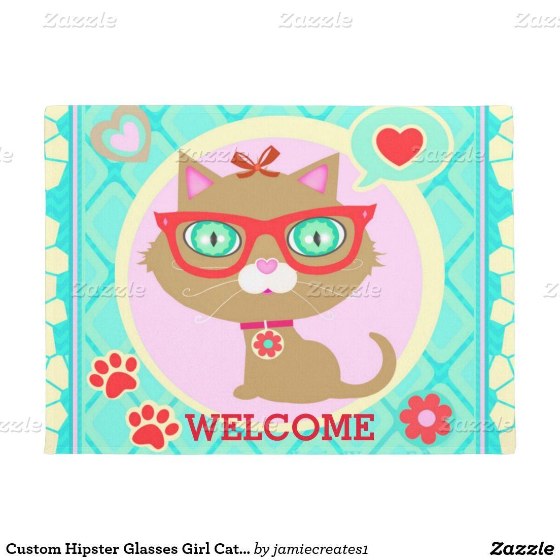 Custom hipster glasses girl cat loverus door mat hipster glasses