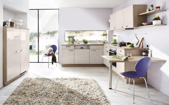 winkelk che spot sahara offen und hell wirkt diese hochglanzk che in der trendfarbe sahara. Black Bedroom Furniture Sets. Home Design Ideas