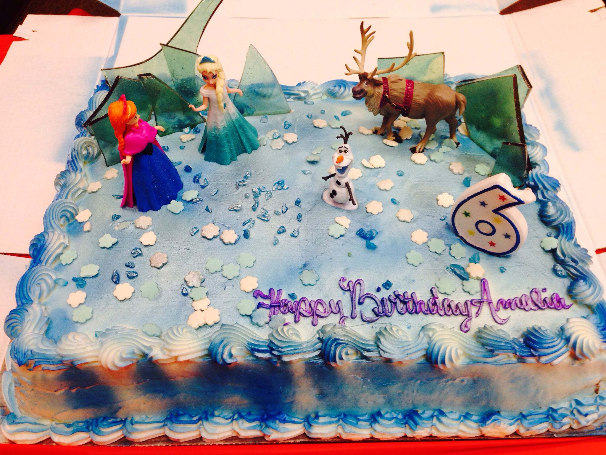 Disney Frozen birthday cake I ordered a plain white cake from