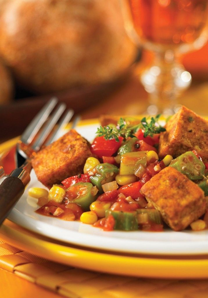 Cajun Style Tofu With Tomatoes And Okra Vegan Peaceful