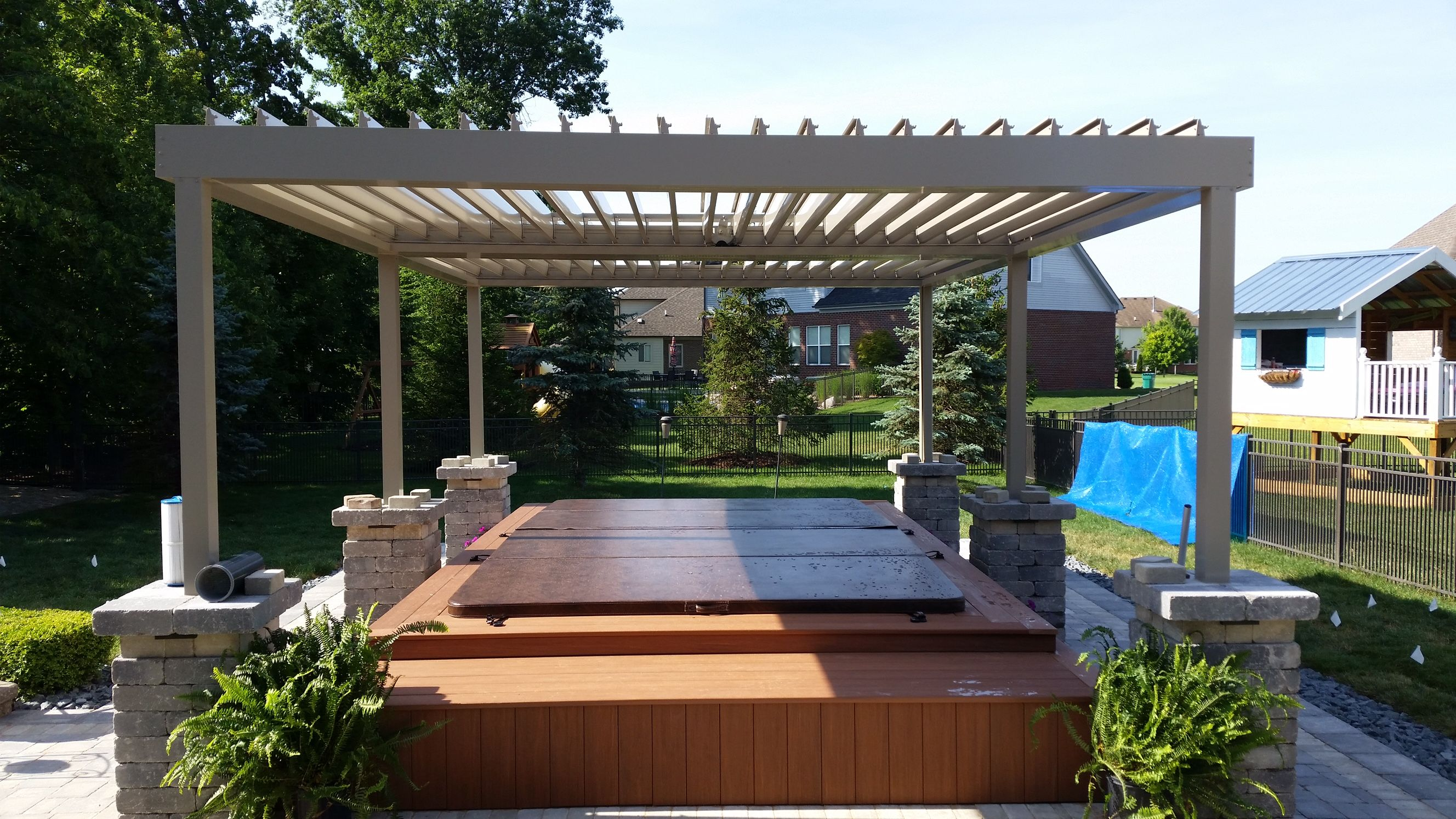 Motor In Center Color Clay Equinox Louvered Roof Gallery Mr Enclosure Michigan Sunrooms Awnings Screenrooms Patio Cove Covered Patio Patio Shade Structure