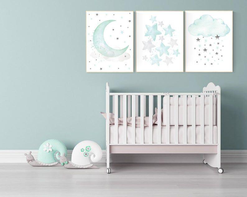 Mint and gray nursery wall art, mint green nursery decor, moon and stars nursery, gender neutral, baby room wall art, star nursery, moon