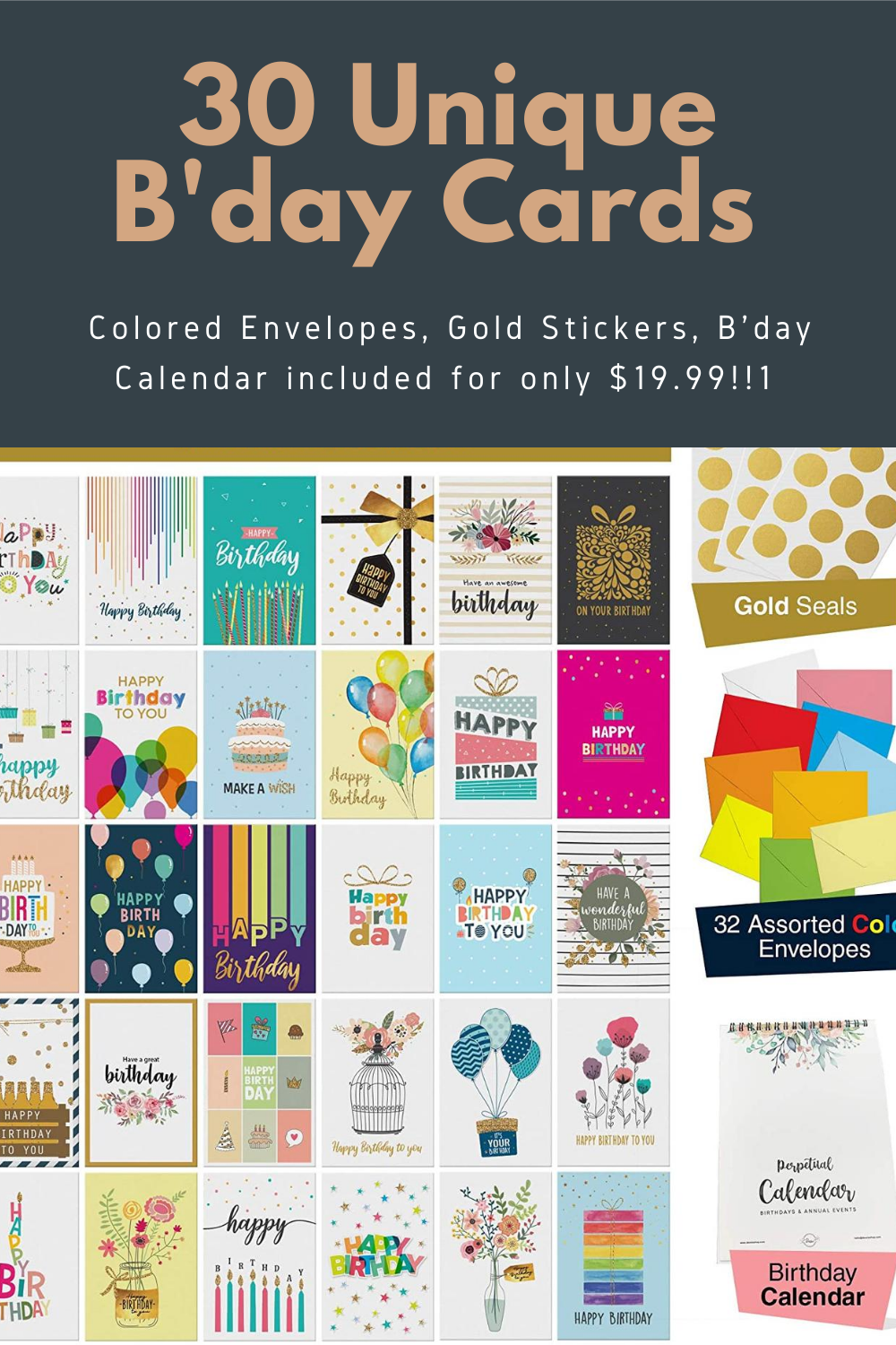 30 Superior Quality Birthday Cards With Gold Accents Colored Envelopes Gold Seals B Day Calendar In 2020 Card Making Birthday Gold Foil Birthday Card Birthday Cards