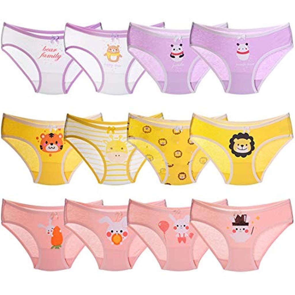 Kidear Kids Series Girls Knickers 12 Pack Children Panties Soft Cotton Toddler Briefs Underwear Age 2-12 Years