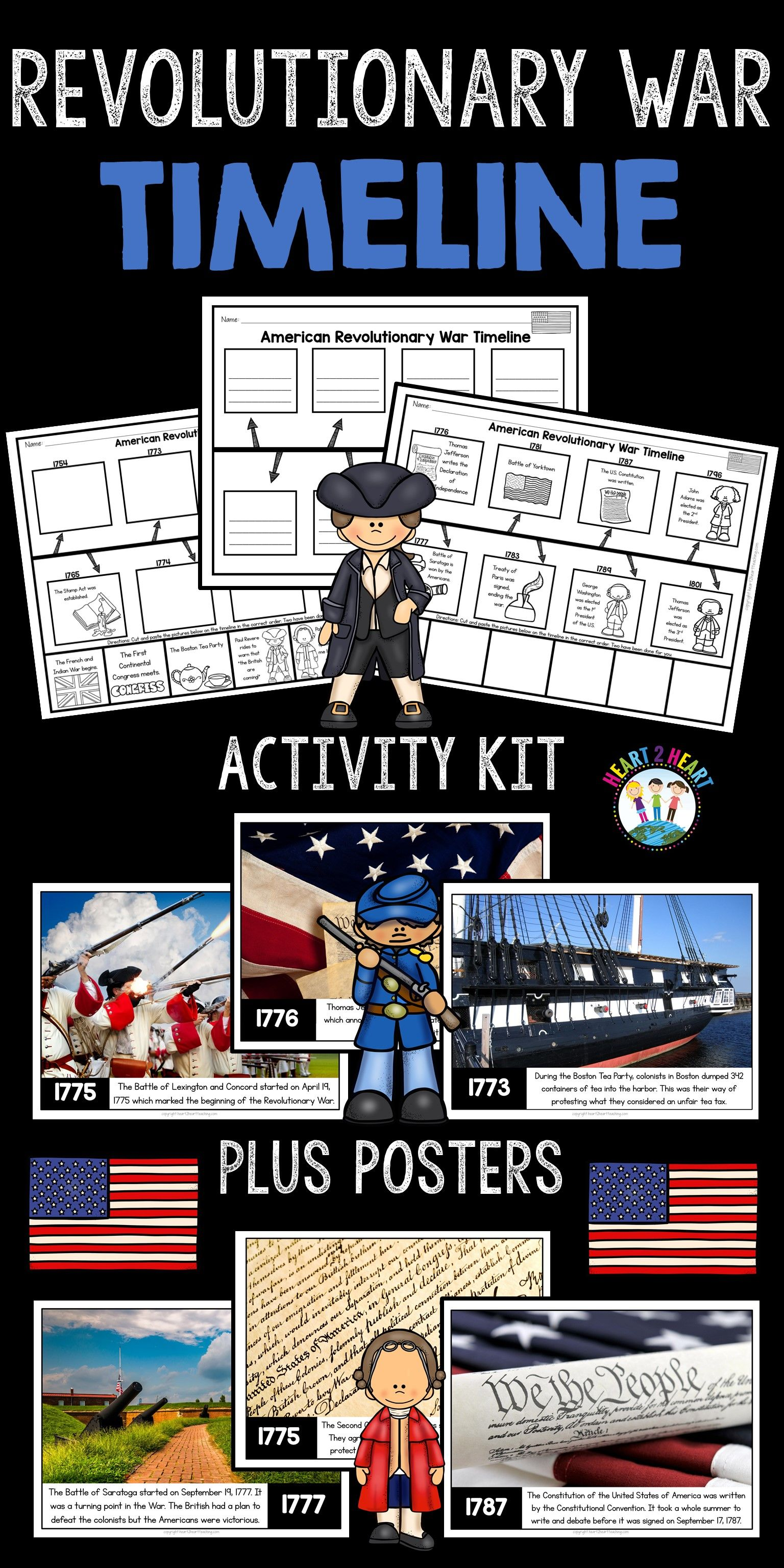 Revolutionary War Activities Timeline Posters And