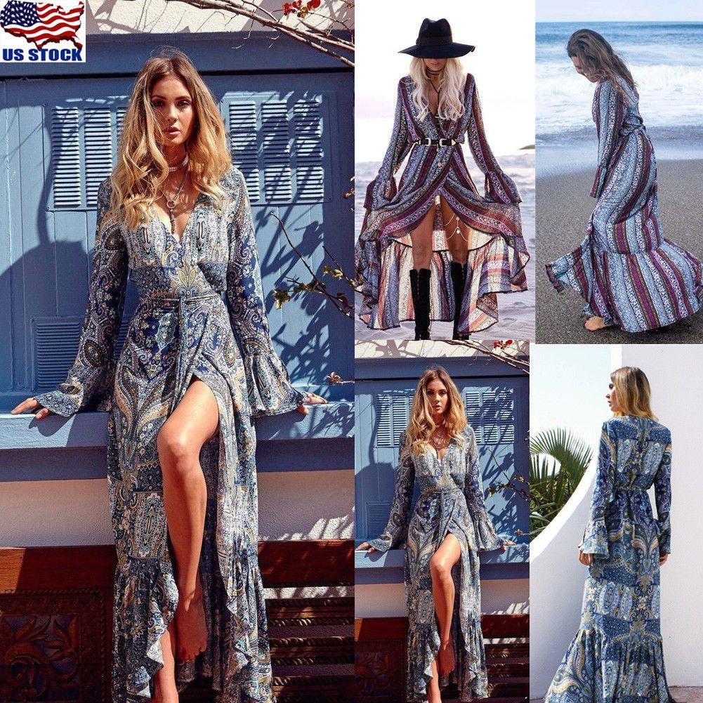 efb594c16f4 Women Summer Boho Chiffon Party Evening Beach Dresses Long Maxi Dress  Sundress