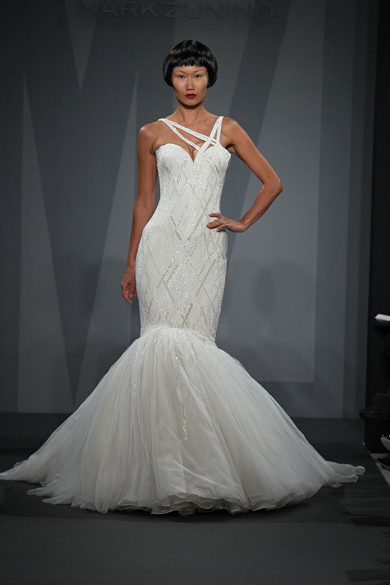 Mark zunino wedding dresses  A ravishing Mark Zunino gown featuring an edgy modern crisscross