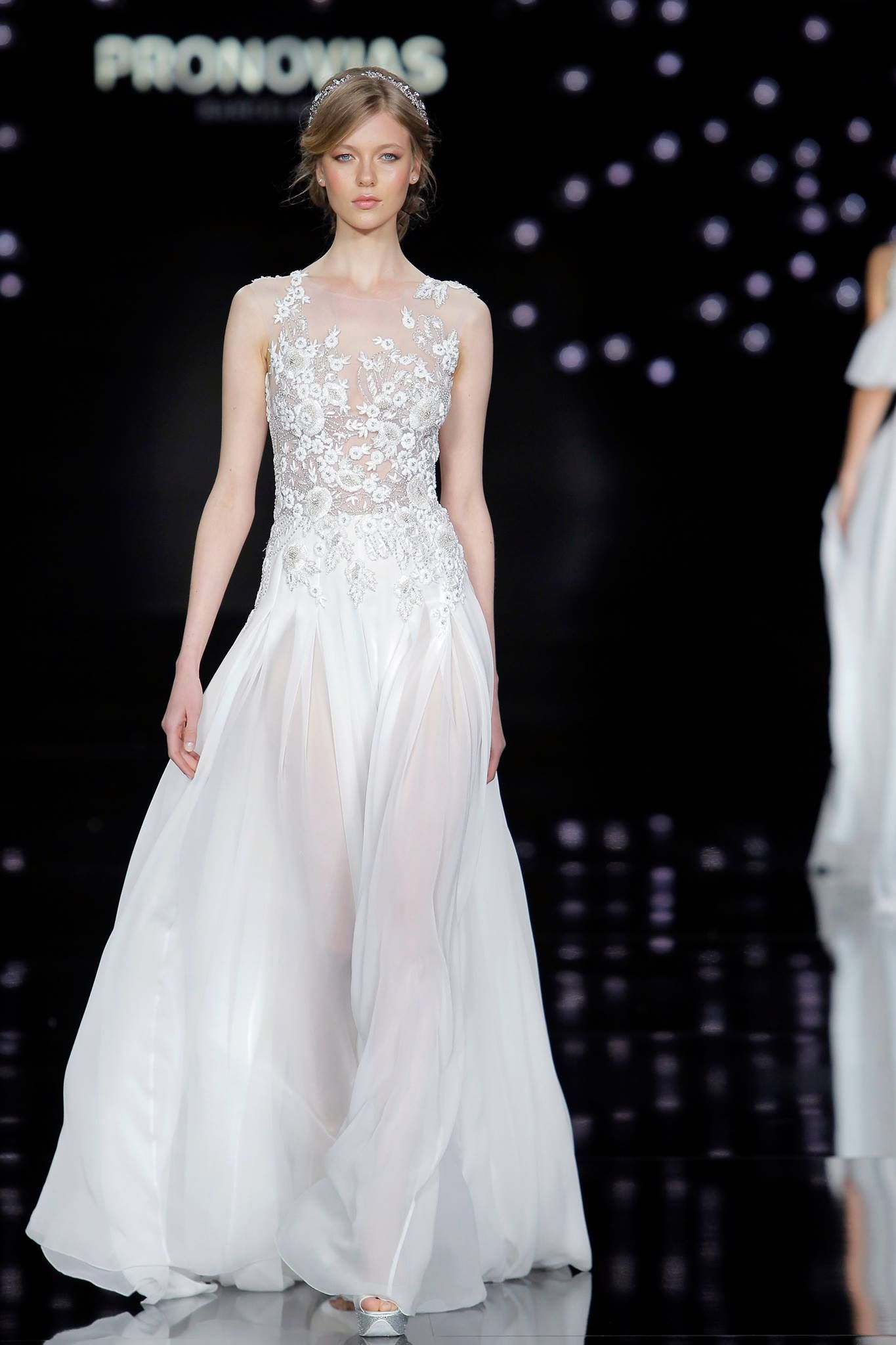 Fancy Atelier Pronovias Spring Closed out Barcelona Bridal Fashion Week with a gorgeous collection of weightless gowns inspired by La Ciel or the sky