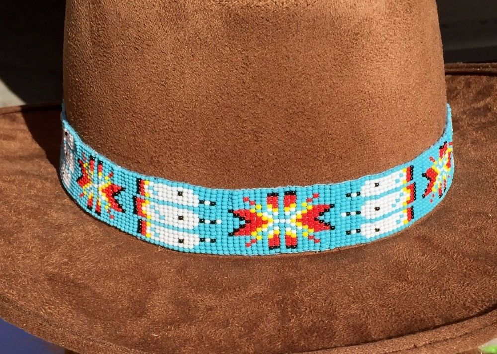 Turquoise Blue White Red Bead Work Beaded Cowboy Hat Band Belt Beaded Hat Bands Beaded Cowboy Hat Bands Beaded Hat