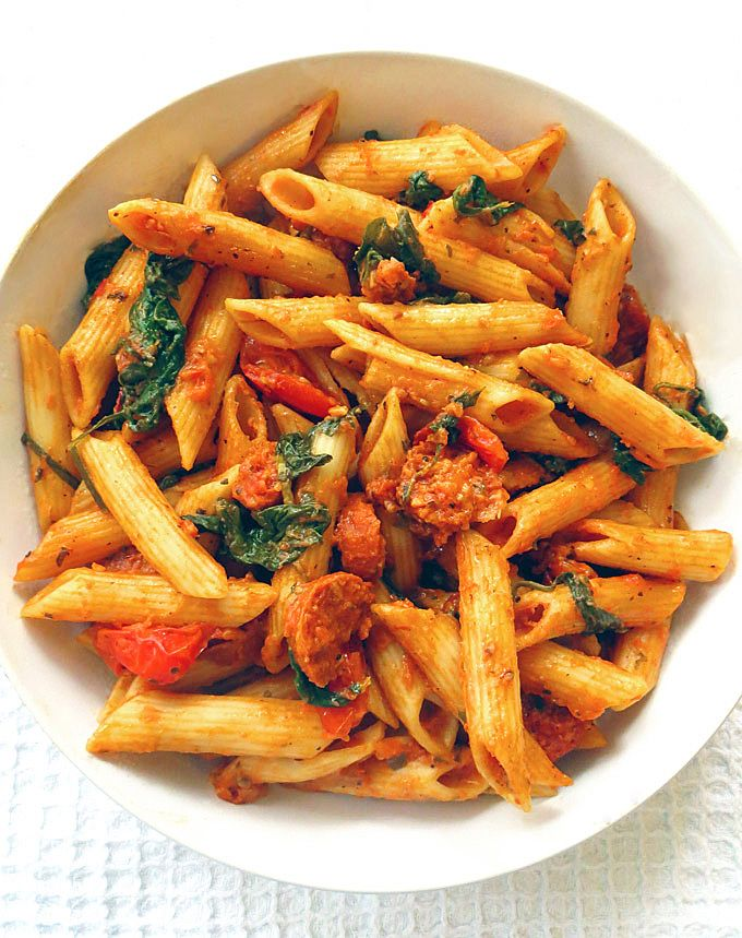 Spinach and Chorizo Red Pesto Penne #healthyfood