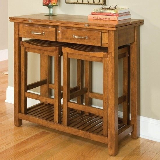 Living Room Table With Stools: Console Table With Nested Stools