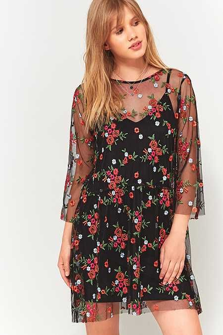 Pins And Needles Clothing Fascinating Pins & Needles Floral Embroidery Mesh Smock Dress  Dresses Design Ideas