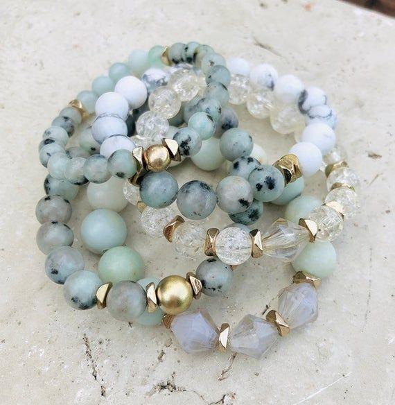 Bohemian Beadwork Stacking Bracelet, Gemstone Jewelry, Gifts for Her, Gemstone Jewelry, Inexpensive Gifts, Bridesmaid Gifts, Unique Gifts #gemstonejewelry