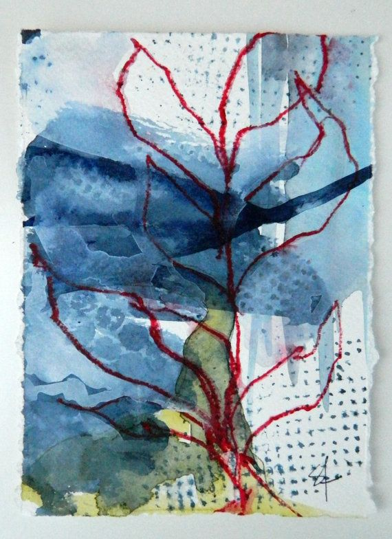Abstract organic nature, Original watercolor painting, landscape earthy leaf design, indigo blue, red, yellow ochre, Perfect Christmas Gift....