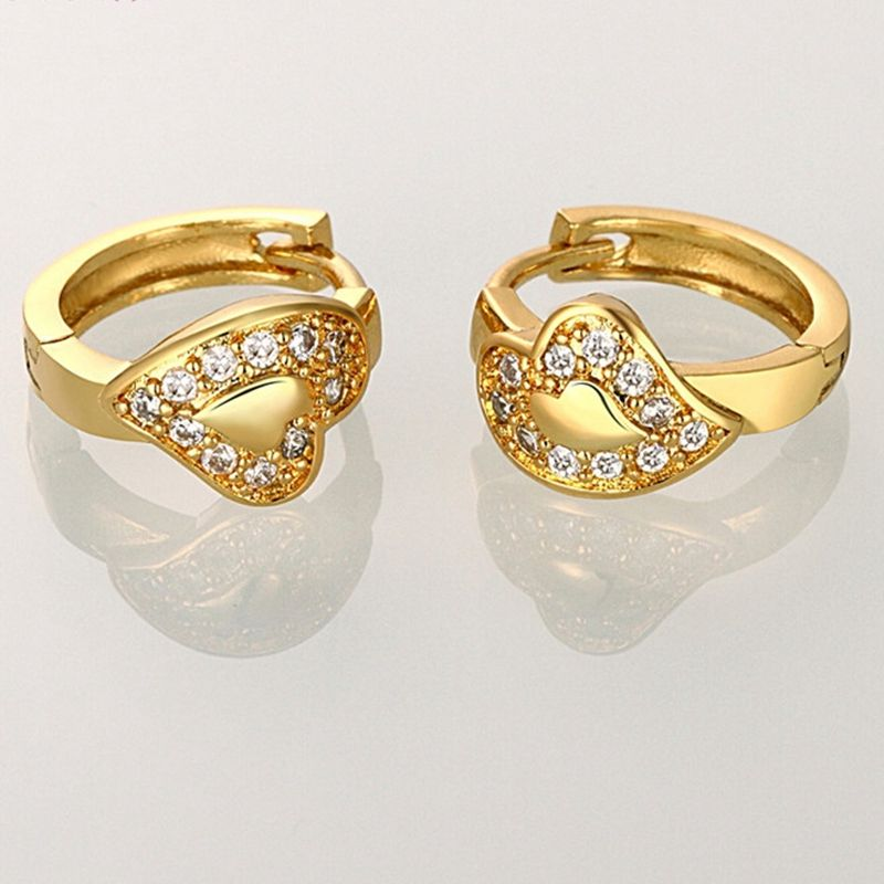 Heart Shaped Huggie Yellow Gold Filled Womens Hoop Earrings 16mm 4mm