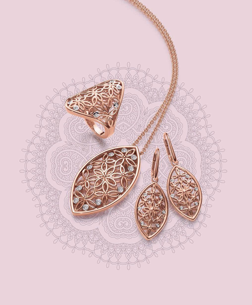 Viventy Jewels Retro Flowers Ring Collier And Earrings Sormus Kaulakoru Ja Korvakorut Www Diamond Pendants Designs Diamond Pendant Sets Jewelry Sets