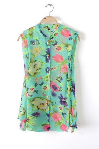 Green Floral Print Sleeveless Chiffon Blouse