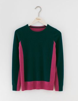 Emerald Night/Hydrangea Cashmere Crew Neck Jumper Boden