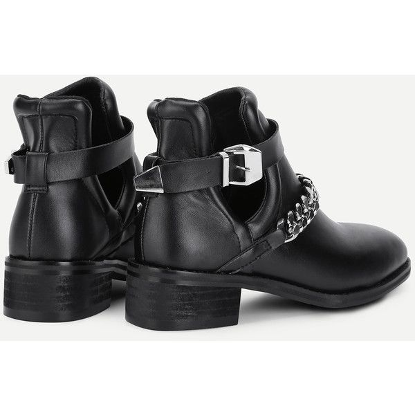 b04cd2fd7d SheIn(sheinside) Chain Decorated Block Heeled Ankle Boots (61 BAM) via  Polyvore featuring shoes, boots, ankle booties, chunky black boots, black  ankle ...