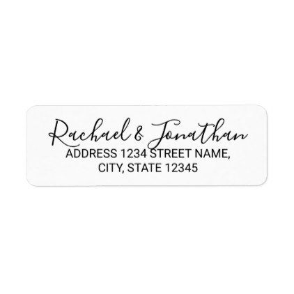 Modern Script Black and White Wedding Label - calligraphy gifts