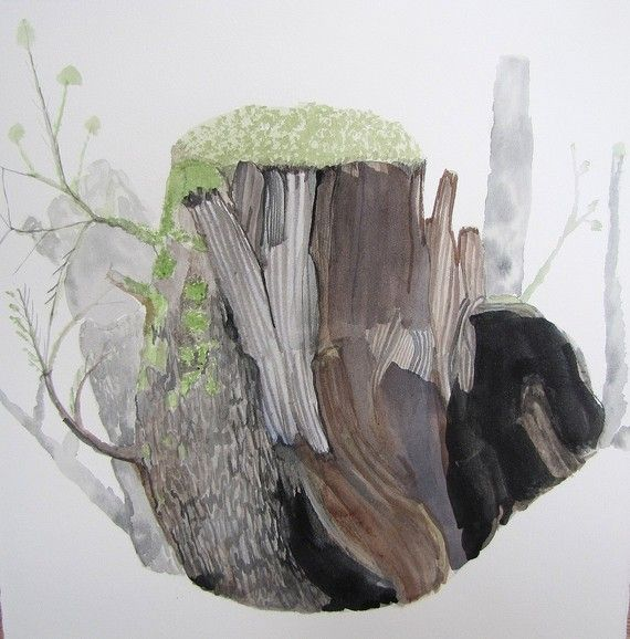 Wood Stump With Moss Original Watercolor Painting Watercolor