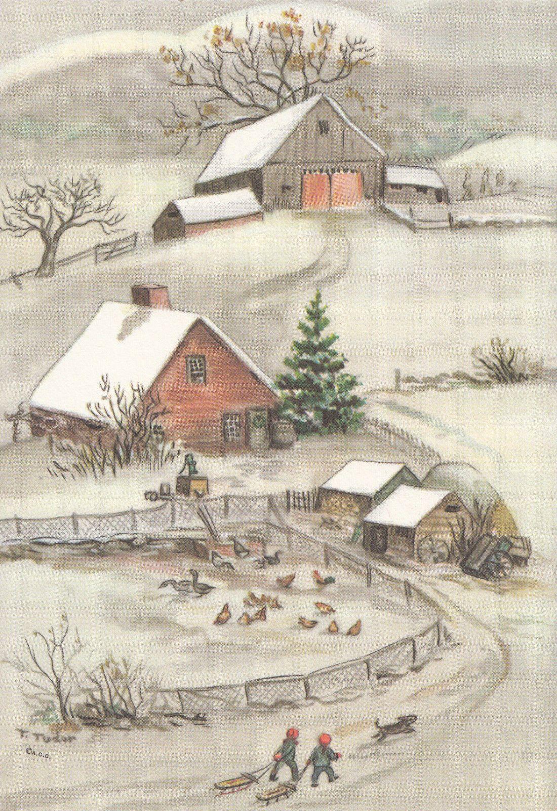 Rare Tasha Tudor Vintage Farm Greeting Christmas Card Mint Condition ...