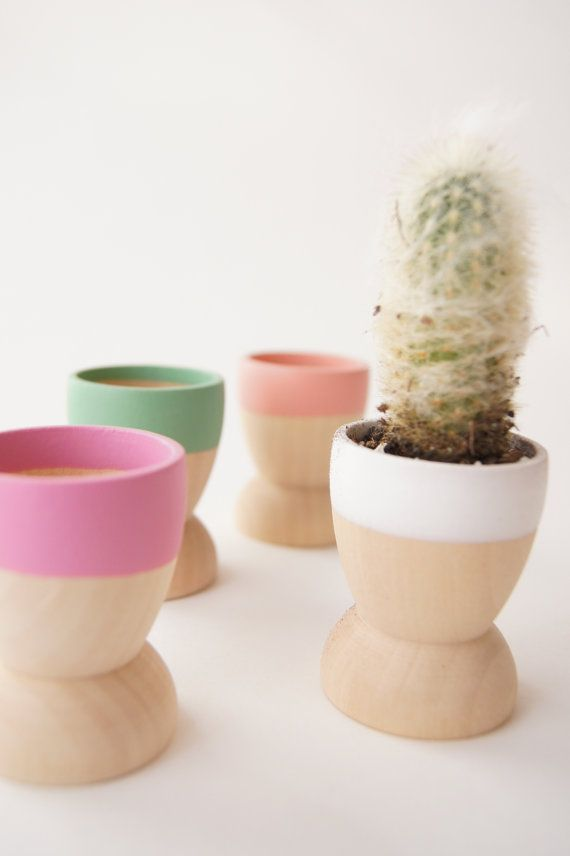 Mini Planters set of 4 Spring Natural Wedding by WindandWillowHome, $29.00