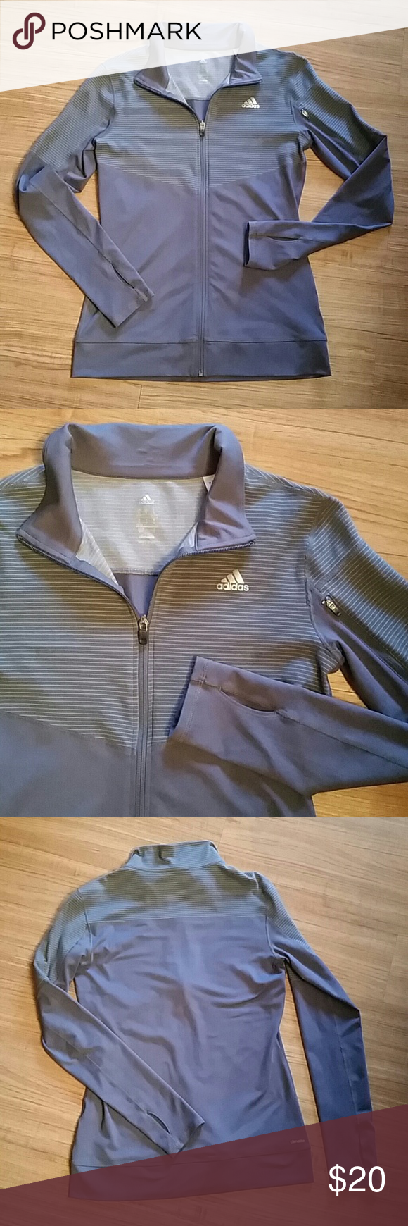 ADIDAS CLIMALITE FULL ZIPP UP JACKET Super stylish, cute and comfy full zipp up jacket by Adidas in excellent.Would be great for running. No stains, no holes, no odors. Color: grey. Adidas Jackets & Coats