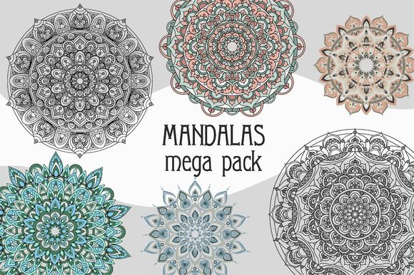 Vector mandala ornaments mega set by Lenkis_art on @creativemarket