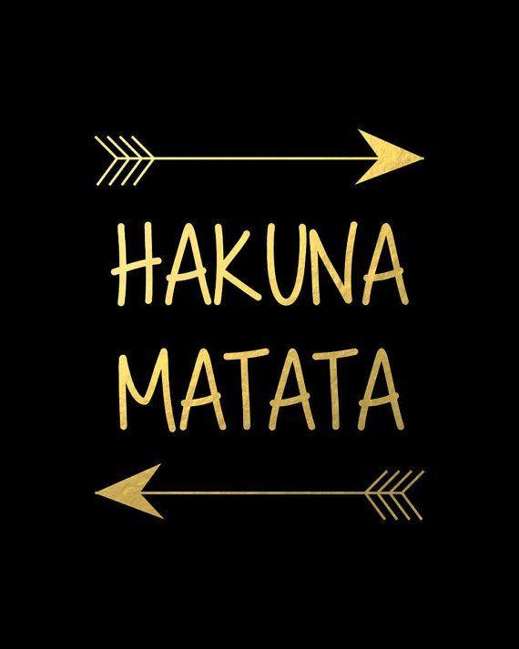 Hakuna Matata Disney Lion King Poster, Black Gold Wall Art Nursery Print Decor K…