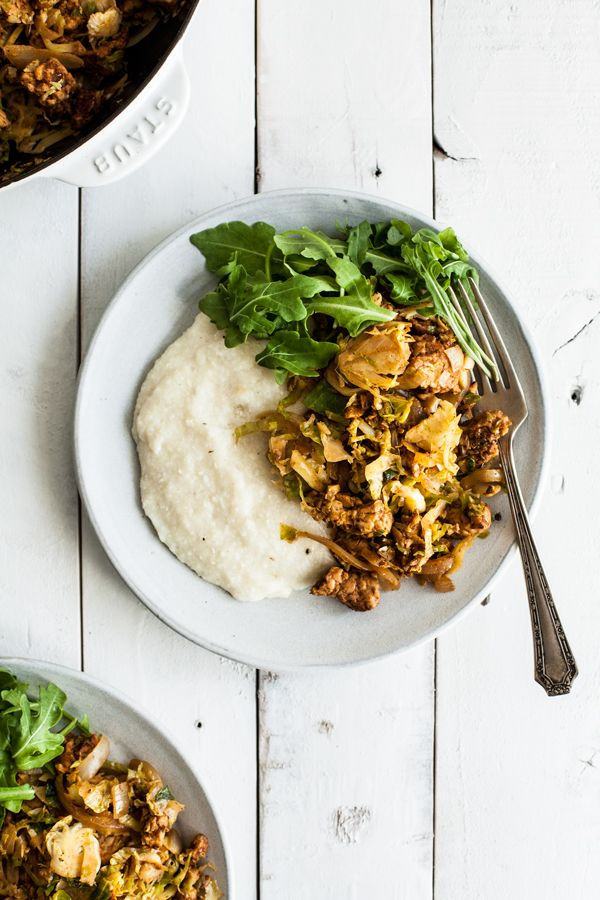Homestyle Vegan Grits With Tempeh Sausage Brussels Sprouts Recipe Polenta Socca Grits Etc Tempeh Grits Gluten Free Recipes For Breakfast