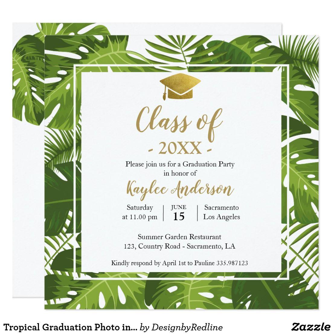 tropical graduation photo invitation card  zazzle in