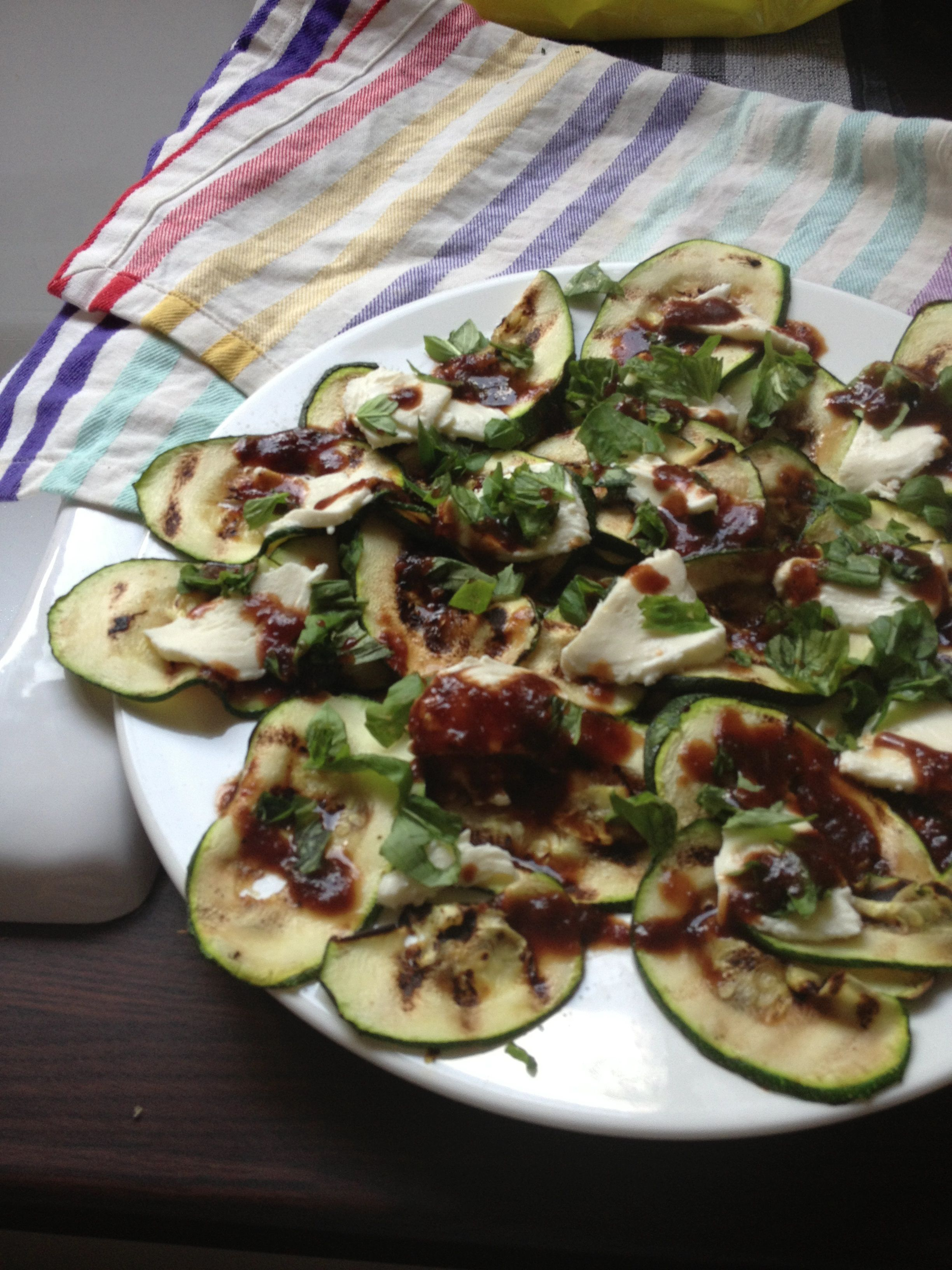 Griddle courgette and mozarella salad