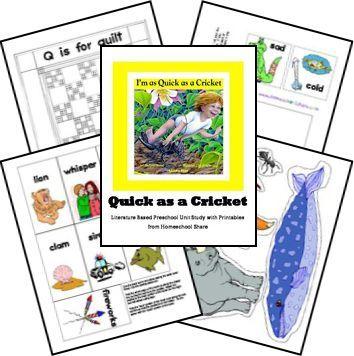 Quick As A Cricket Preschool Unit Study And Lapbook Printables Free Preschool Activities Preschool Units Childrens Literature Activities