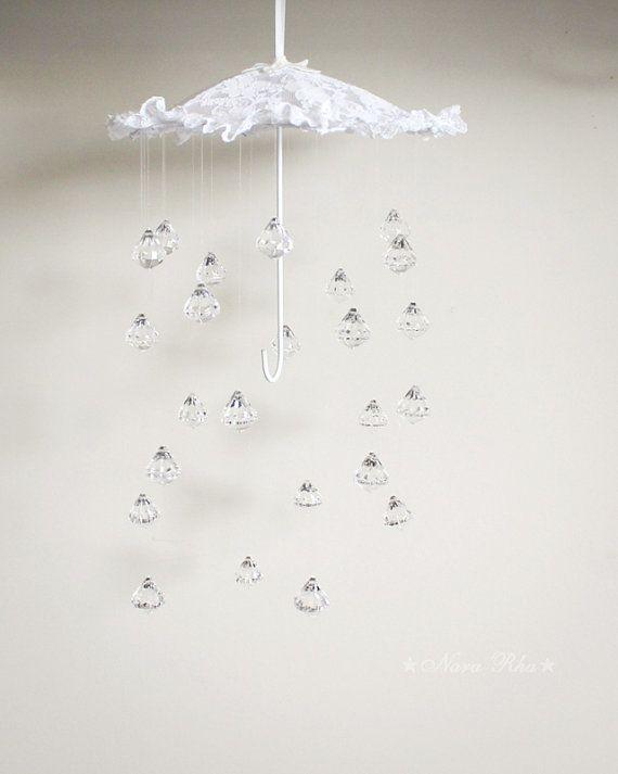 Bebé móvil móvil de cristal lluvia paraguas móvil móvil por NaraRha