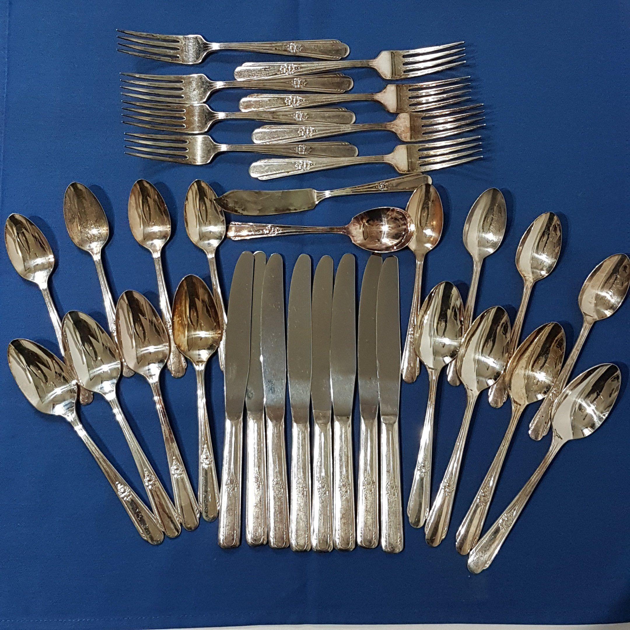 Vintage Wm Rogers Long Handle Forks Original Rogers 7 12  Silver Plate