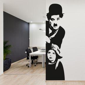 Adesivi Murali Charlie Chaplin.Adesivi Da Parete Adesivo Murale Charlie Chaplin Il