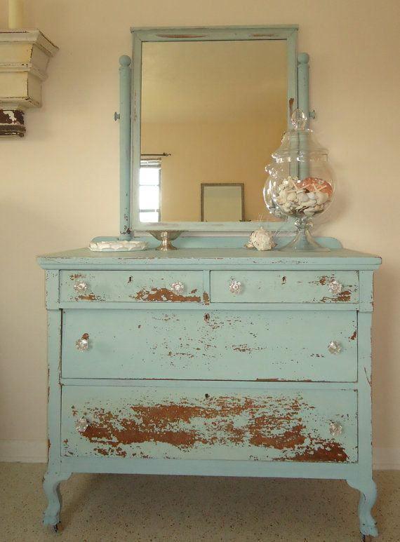 Coastal Light Blue Chippy Distressed Milk by WhiteandWeathered