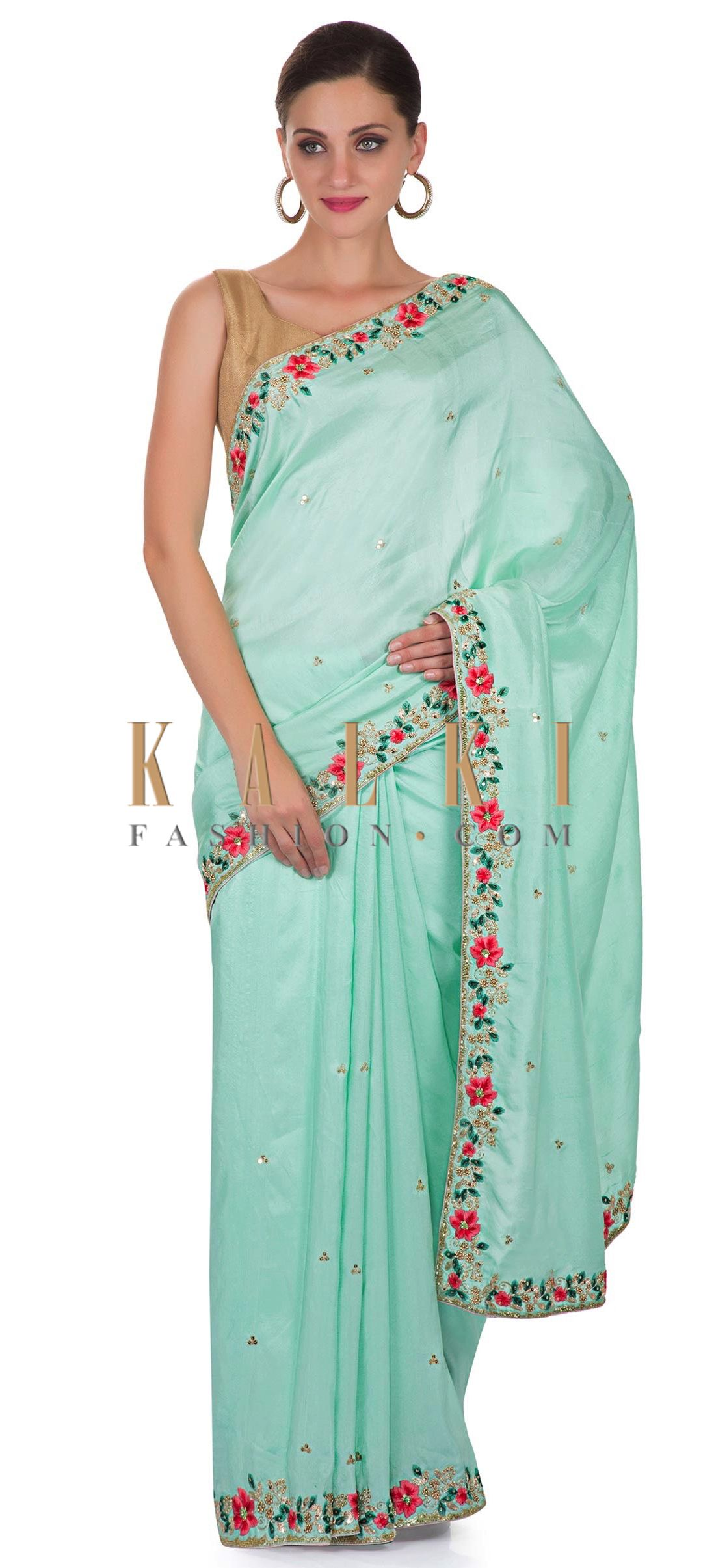 7c05941c6bb09 Mint Green Satin Saree with Unstitched Pink Raw Silk Blouse Featuring Resham  and Zardosi only on Kalki