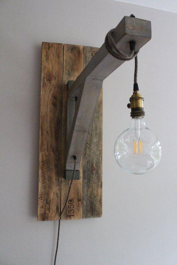 L mpara colgante ingmar madera recuperada minimalista por yucwood ideas en 2019 - Lamparas colgantes minimalistas ...