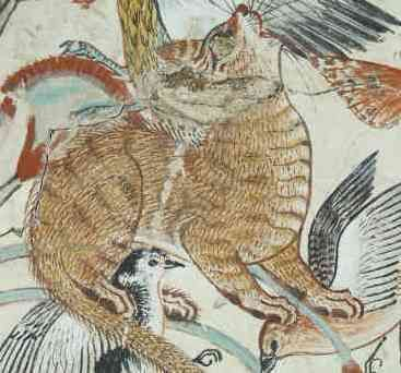 Cat catching birds in the papyrus clump (detail), from the ...