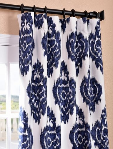 in my dreams} Ikat Blue Printed Cotton Curtain Curtains Pinterest