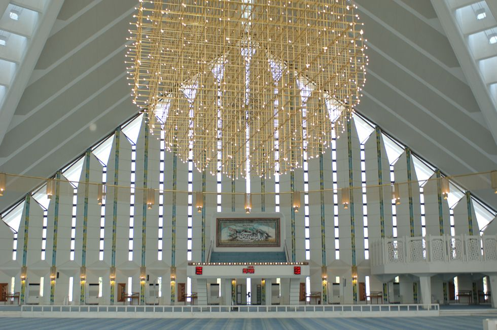 Inside view of Faisal Mosque, Islamabad.   Pakistan - The ...