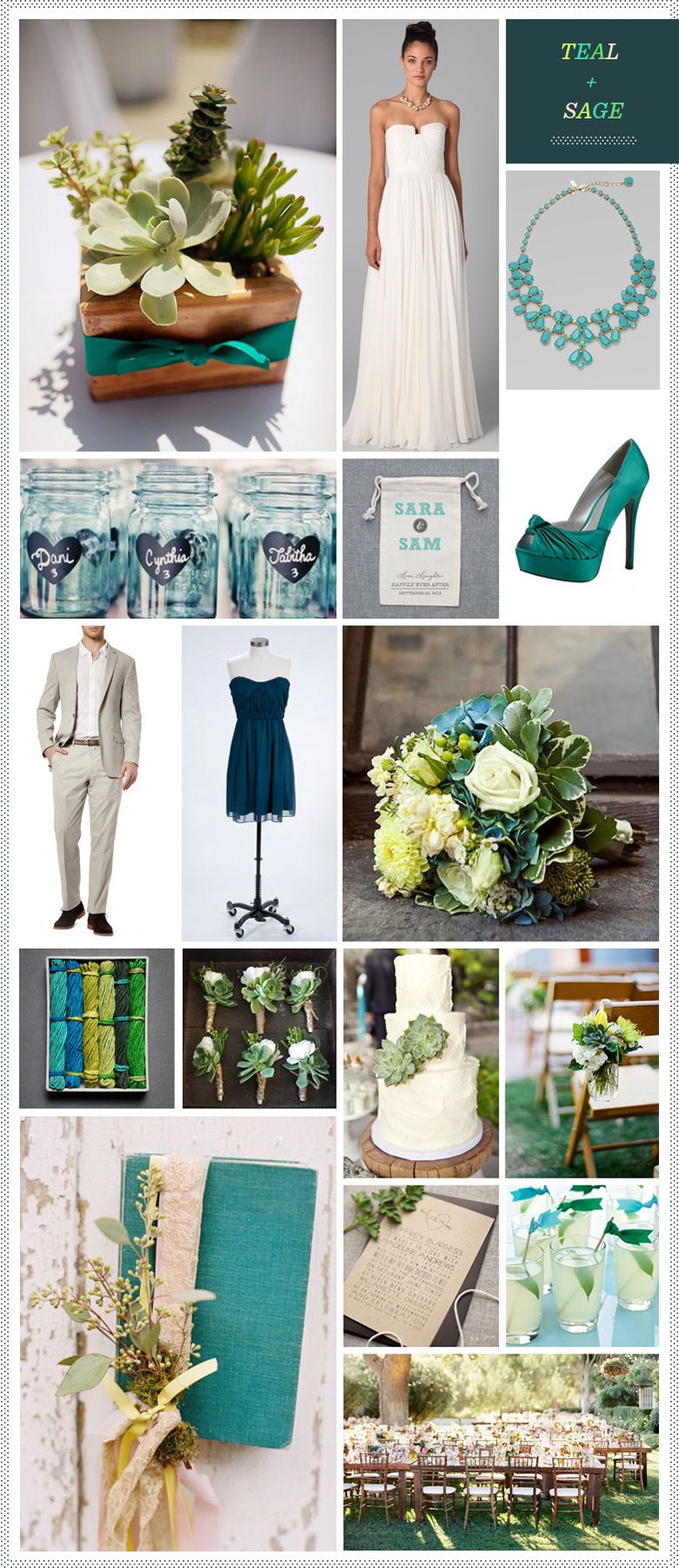 Teal sage wedding inspiration from revel sage wedding - What colors go with sage ...