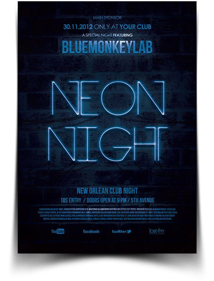 Free Neon Night Flyer / Poster   Photoshop Files   Pinterest