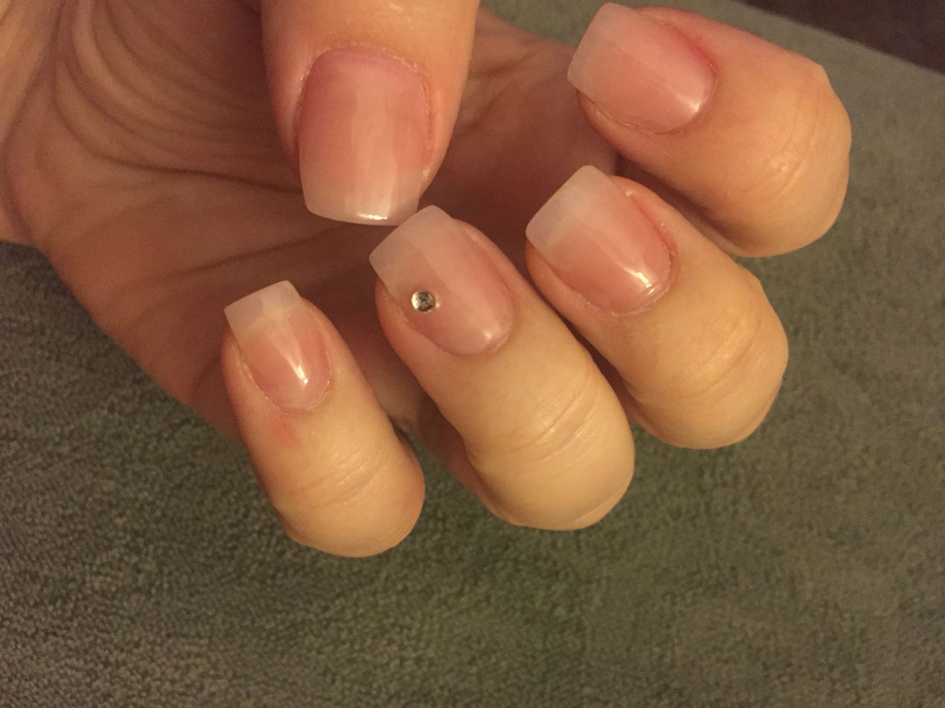 Light Pink Acrylic With Clear Gel Coat And Diamond Simple Natural Nails Natural Acrylic Nails Clear Gel Nails Pink Acrylic Nails